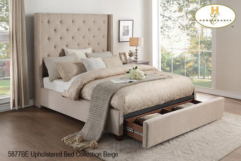 Upholstered Storage Bed ( 5877BE-1 ) - Aldergrove Furniture Warehouse