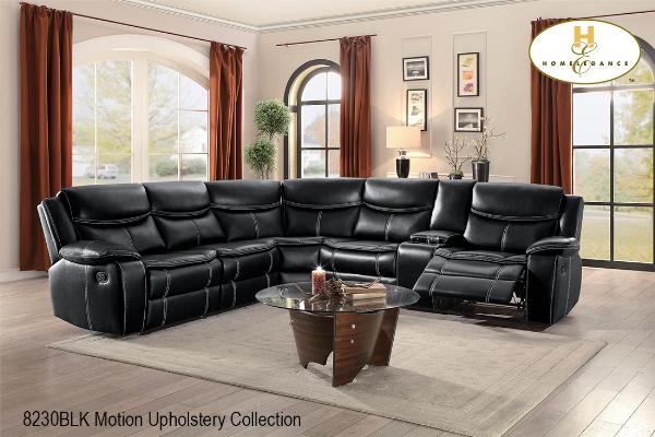 Motion Sectional ( 8230BLK-2L ) - Aldergrove Furniture Warehouse