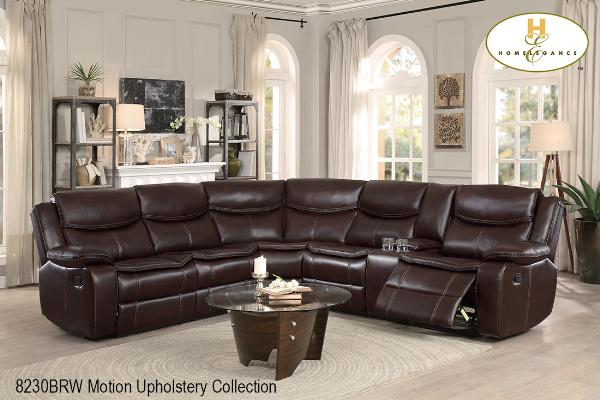 Motion Sectional ( 8230BRW-2L ) - Aldergrove Furniture Warehouse