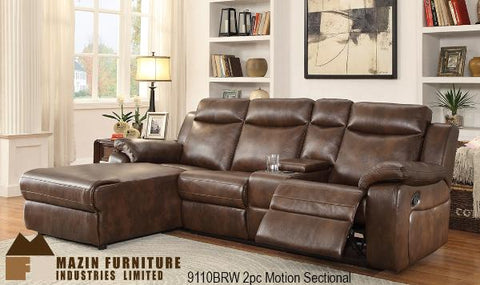Sectional ( 9110BRW-2RC ) - Aldergrove Furniture Warehouse