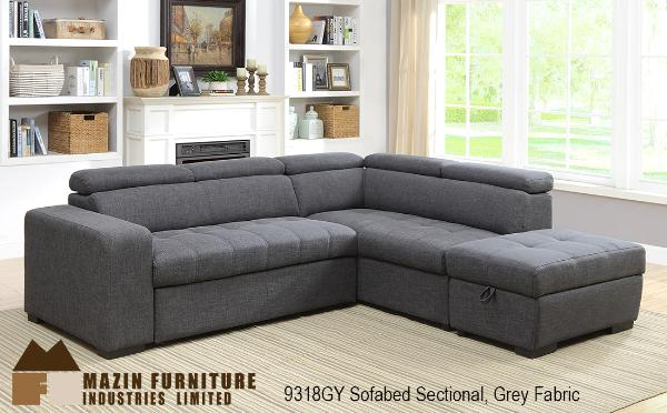 2pc Sectional with Pull-out Sofa Bed ( 9318GY-2L ) - Aldergrove Furniture Warehouse
