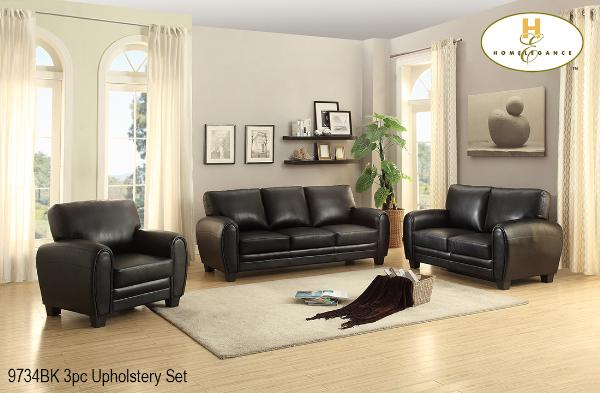 3 Pc Sofa Set ( 9734BK-1 ) - Aldergrove Furniture Warehouse