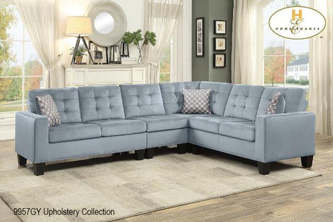 2 Pc Set with Sectional ( 9957GY-2 ) - Aldergrove Furniture Warehouse