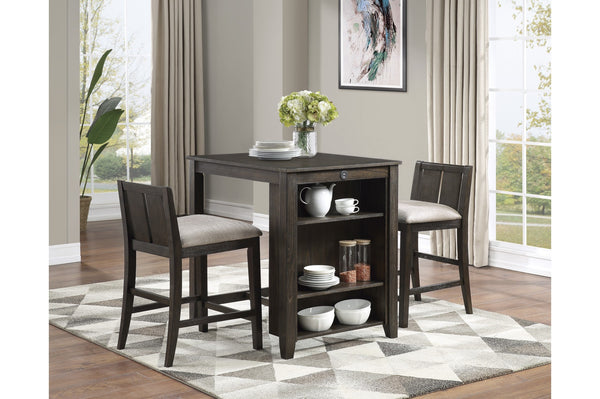 3 Piece Smart Dinette with Display Shelves And USB Ports - Aldergrove Furniture Warehouse