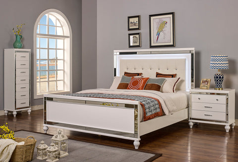 Valentino Bedroom Collection In Silver Black White - Aldergrove Furniture Warehouse