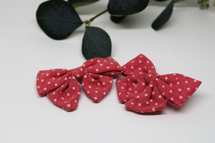 Dot Linen Bows w/clip (set of 2)