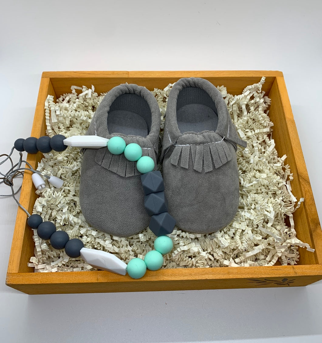 Moccasins & Mommy and me teething necklace