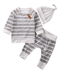 Gender Neutral Stripe Button Sweat Suit w/Hat