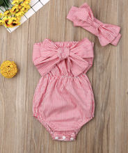 Load image into Gallery viewer, Off shoulder Bowknot bodysuit w/headband