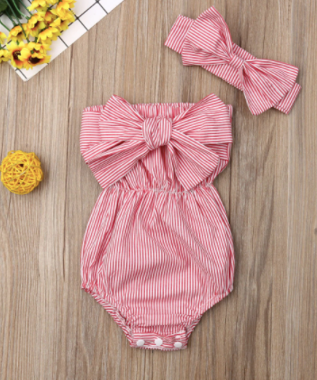 Off shoulder Bowknot bodysuit w/headband