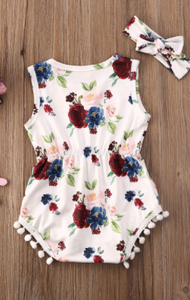 Sleeveless Rose Tassel Romper