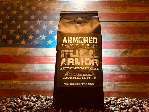 "Armored Coffee ""Full Armor"" Dark Roast Extreme Caffeine Coffee 1 LB bag"