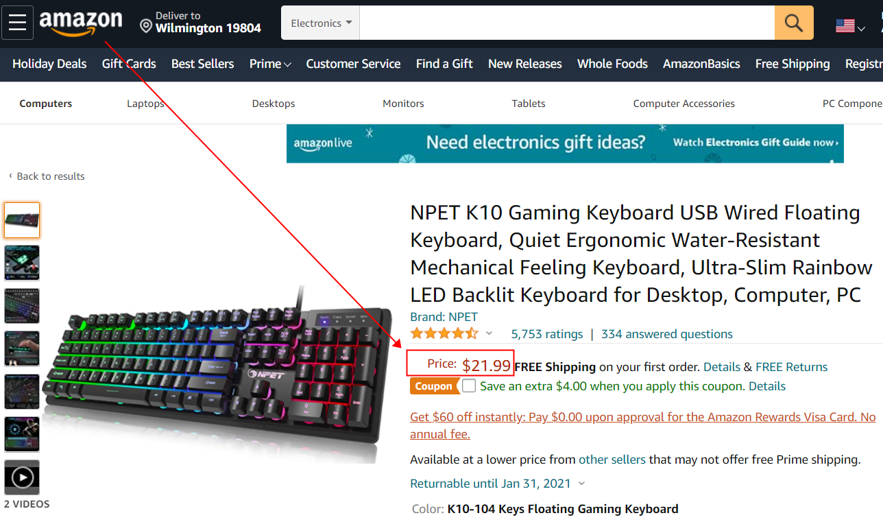 amazon keyboard price