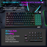 NPET K60 Compact Gaming Keyboard with Dedicated Volume Knob