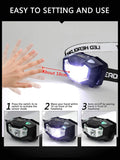 NPET Rechargeable Headlamp 320 Lumen LED Motion Sensing Head Lamp