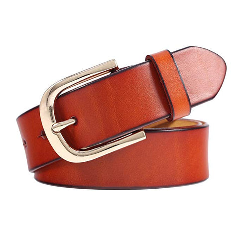 NPET Leather Belt for Women with Classic Polished Alloy Buckle