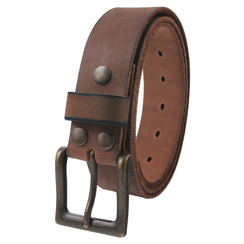 "NPET Men's Vintage Leather Belt With Buckle Full Grain Snap on Strap 1.5"" Wide"
