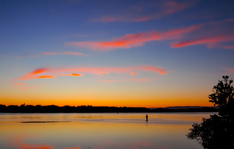 Fishing during a Lake Macquarie sunset