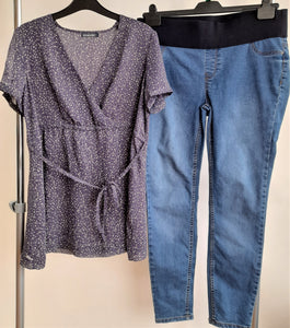 Women's Maternity Clothes Bundle - 1 Co-ord set (Shirt and Jeans) - Size 12