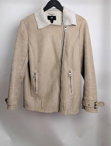Women's H&M Beige Faux Suede with Faux Shirling Jacket Size 12