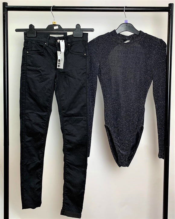 Women's Clothes Bundle Outfit Topshop Leigh Jeans W 26 L 30 and H&M Bodysuit Size  XS