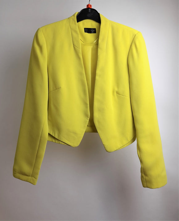 Women's Topshop Yellow Crop Jacket Size 10