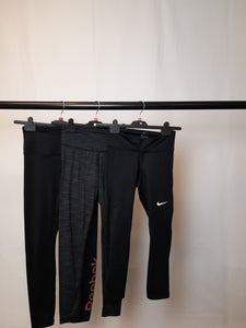 Women's Clothes Bundle 3 Assorted Leggings inc. Nike and Reebok Size Small