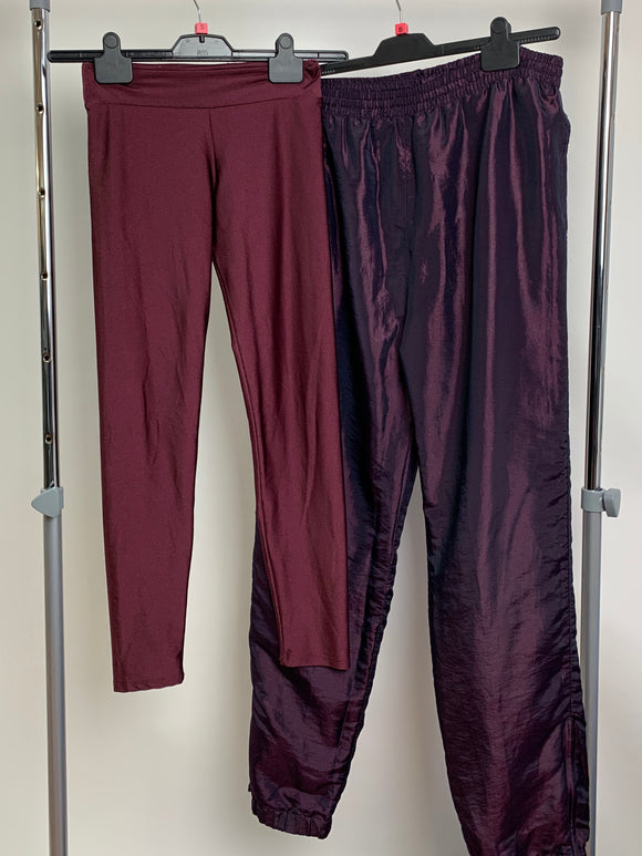 Women's Clothes Bundle High Shine Purple Red 2 Assorted Trousers Size Small