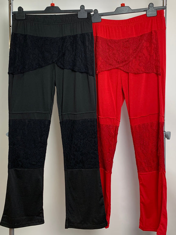 Women's Red and Black Clothes Bundle 2 Assorted Trousers With Lace Size XL