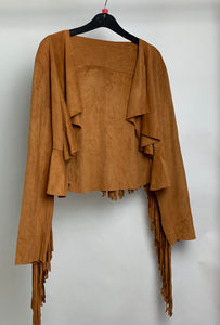 Women's Faux Suede Jacket With Fringe Size Small
