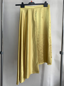 Women's Topshop Asymetrical Gold Satin Skirt Size 10