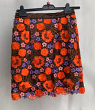 Women's Floral Applique Skirt with Rhinestones Size Small