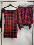 Women's Clothes Bundle Assorted Dress and Skirt Red Tartan Size Small