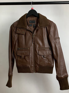 Women's MNG Brown Leather Jacket Size Small