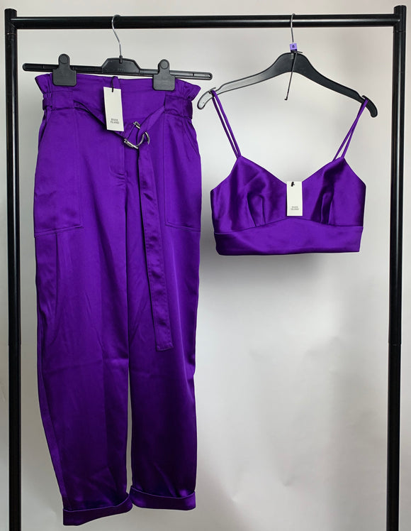 Women's Purple Satin Co-ord Trouser and Bralet Set Size 8