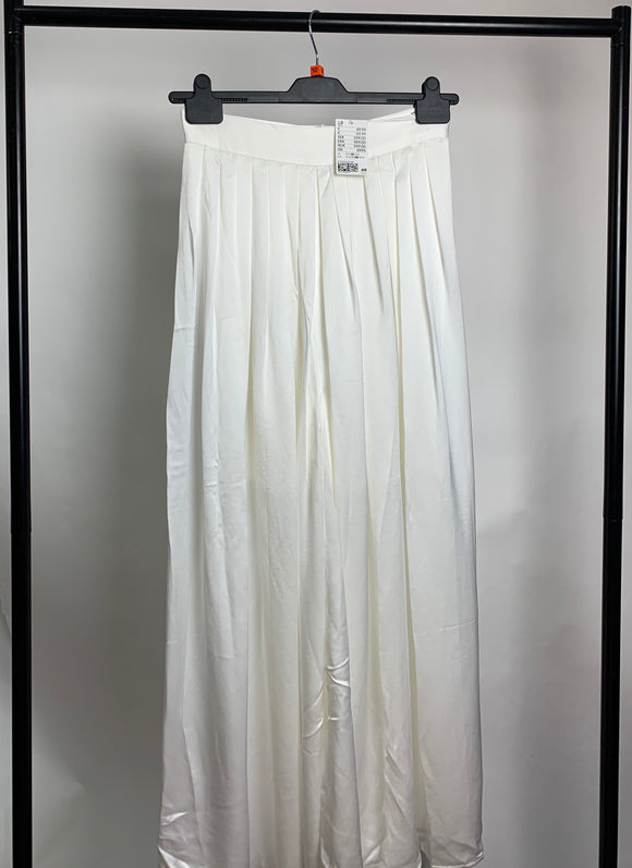 Women's H&M Sheer White Wide Leg Trousers Size 10