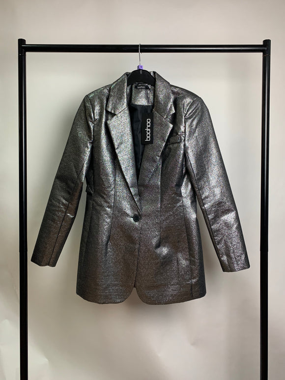 Women's Silver Metallic high Shine Boohoo Blazer Size 8 Still With Tags