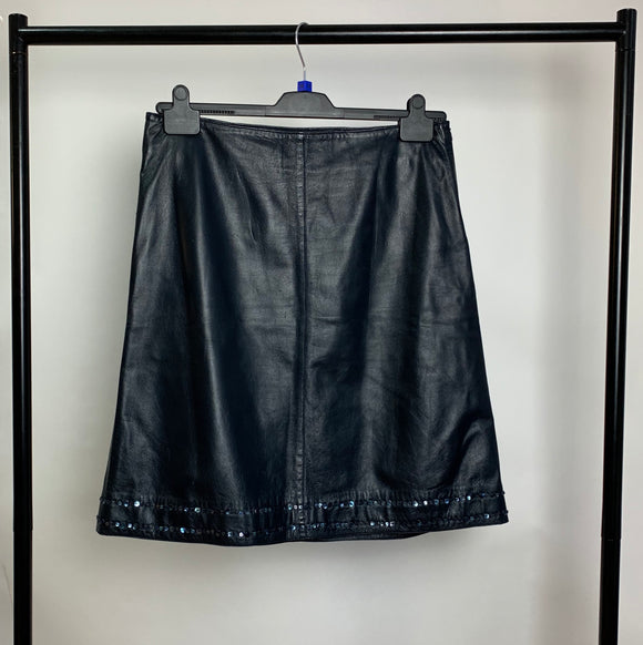 Women's Marks and Spencer Navy Leather Skirt Size 14