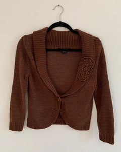 Women's August Silk Brown Cardigan Size Small