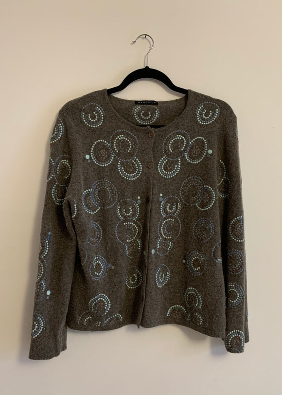 Women's Vintage Mandolin Lamb's Wool Embroidered Cardigan Size 14
