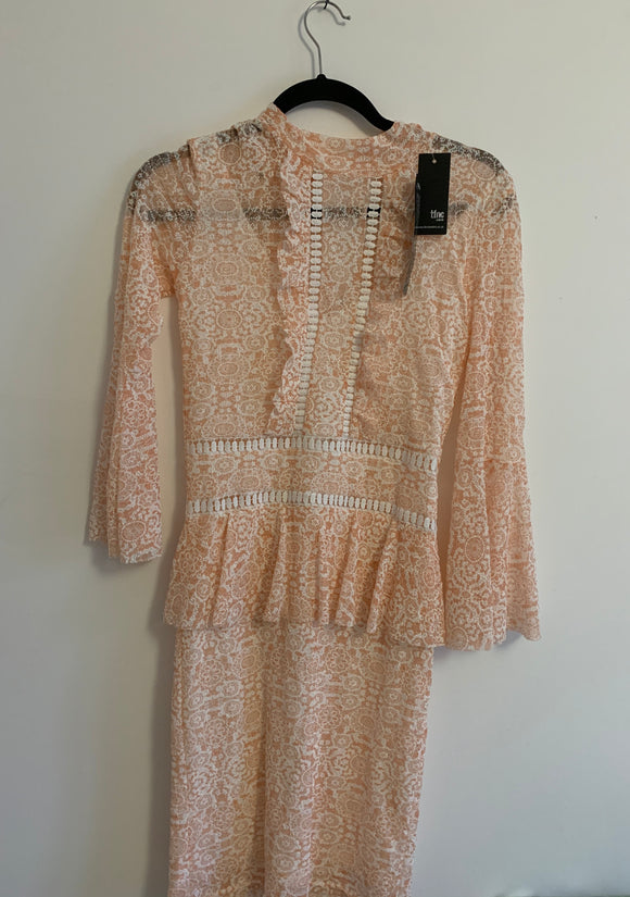 Women's TFNC Pink and White Lace Dress Size Small