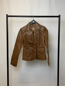 Women's Vintage Edition New Look Brown Leather Jacket Size 10