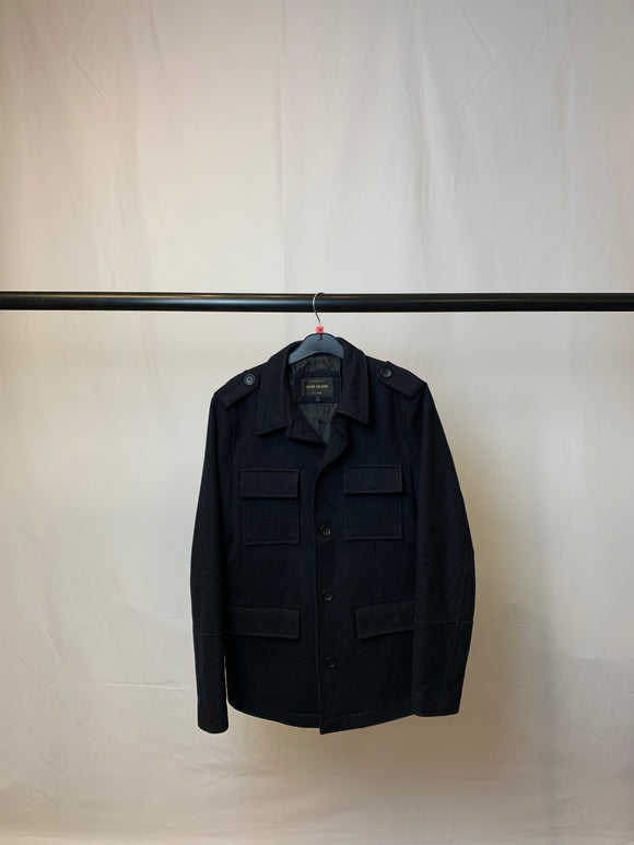 Men's River Island Navy Woolen Military Style Coat Size Small