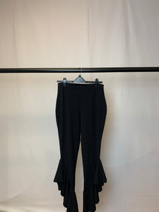 Women's Missguided Black Flare Frill Trousers Size 12