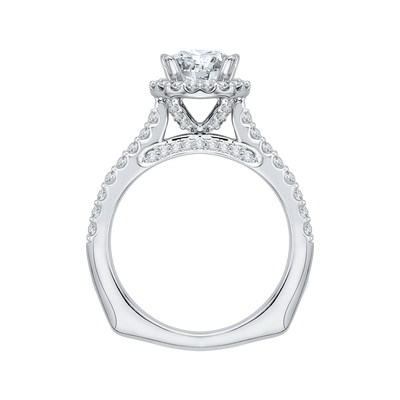 14K White Gold Round Cut Diamond Halo Engagement Ring with Euro Shank (Semi-Mount)