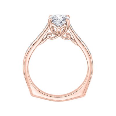 14K Rose Gold Round Cut Diamond Solitaire with Accents Engagement Ring (Semi-Mount)