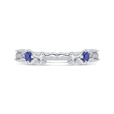 14K White Gold Round Diamond Wedding Band with Sapphire