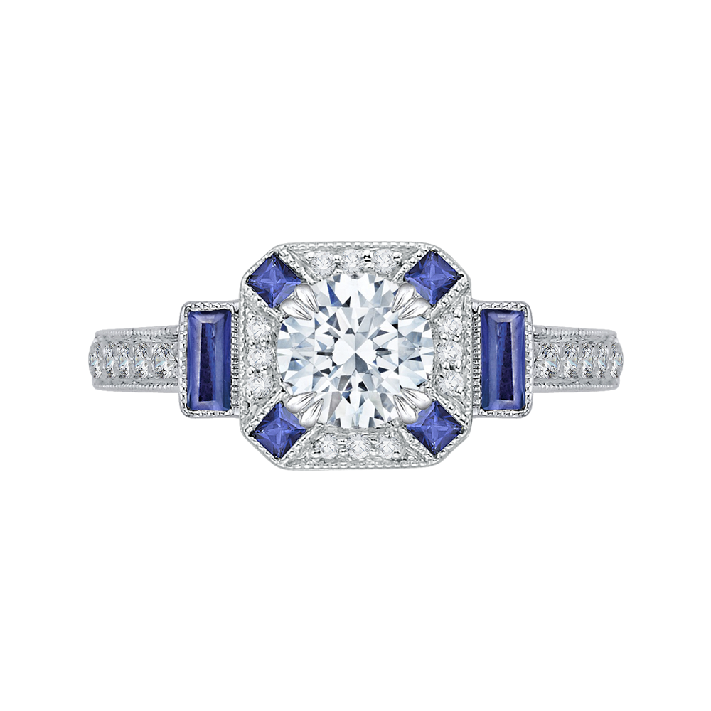 14K White Gold Round Diamond and Sapphire Engagement Ring (Semi-Mount)