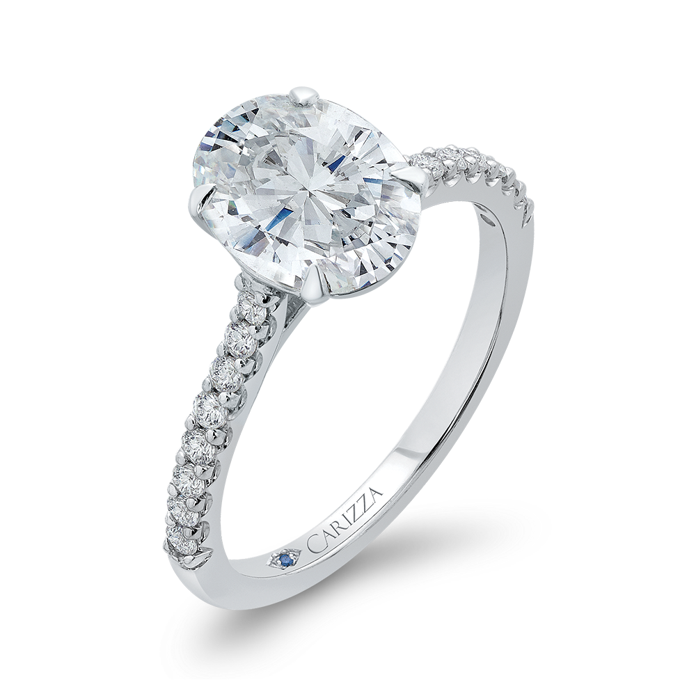 14K White Gold Oval Diamond Cathedral Style Engagement Ring (Semi-Mount)