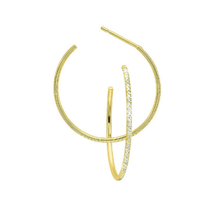 14KT Yellow Gold Diamond Dainty Hoop Earring